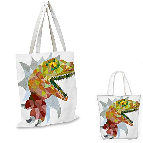 Reptile canvas messenger bag Colorful Mosaic Wild Trex Illustration Opens Mouth Jurassic Pixel Dinosaur Mascot canvas beach bag Multicolor. 12