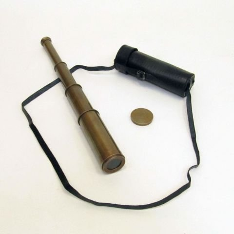 REAL SIMPLE…A HANDTOOLED HANDCRAFTED PULLOUT TELESCOPE W/ LEATHER CASE!!!