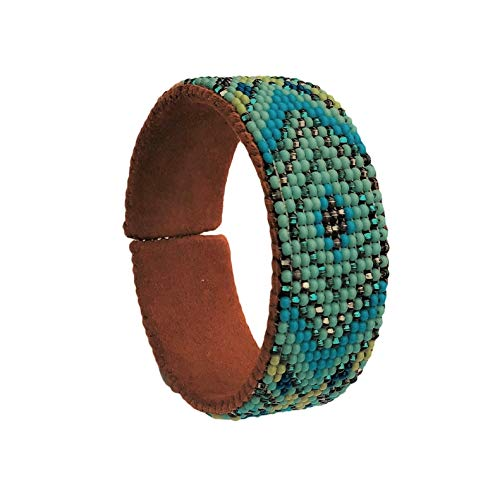 Mayan Arts Beaded Cuff Bracelet, Turquoise,Earth Tones, Shabby Chic,Cowgirl Jewelry, Handmade in Guatemala ()
