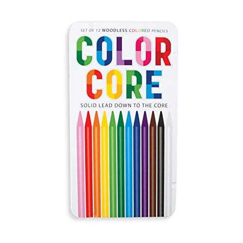 Ooly Color Core Wood-Free Colored Pencils - Set of 12 - With Reusable Tin Case - Ages 3+