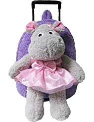 Kreative Kids 8050 Lavender Ballet Hippo Plush Rolling Backpack