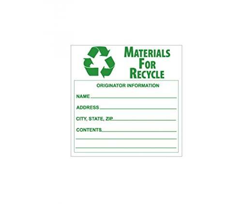 National Marker Corp. HW34ALV Labels, Materials For Recycle, 6 Inch X 6 Inch, PS Vinyl, 500/Lb. by National Marker