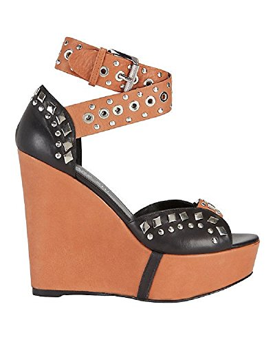 Barbara Bui Tan Black Wedge Sandals 37