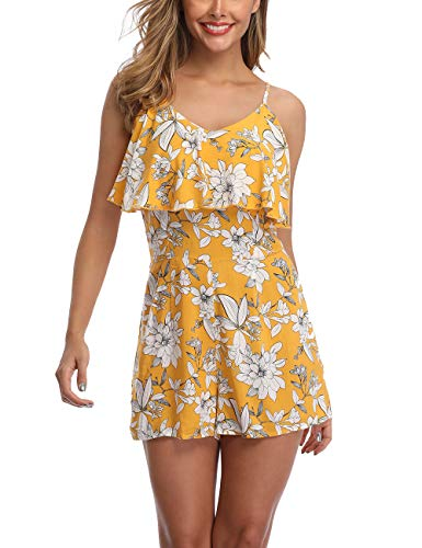 Wudodo Summer Rompers for Women Off Shoulder Sleeveless Straps Floral Print Ruched Short Jumpsuit Yellow