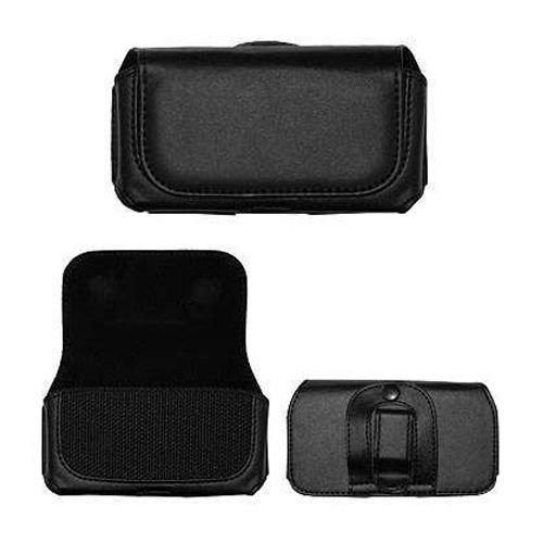 Black Horizontal Leather Pouch For Samsung Moment M900 Phone Case Cover with Belt Clip Magnetic ()