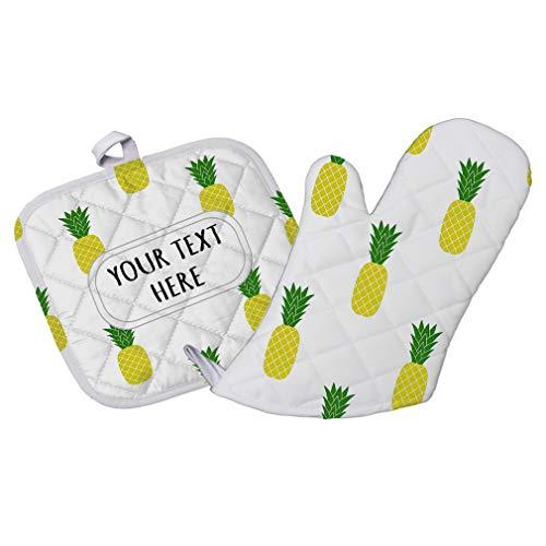Polyester Oven Mitt & Pot Holder Set Custom Pineapple Seemless Pattern A Adults Heat Resistant Pads