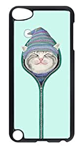 Brian114 Case, iPod Touch 5 Case, iPod Touch 5th Case Cover, Cat In The Zipper Retro Protective Hard PC Back Case for iPod Touch 5 ( Black ) Kimberly Kurzendoerfer