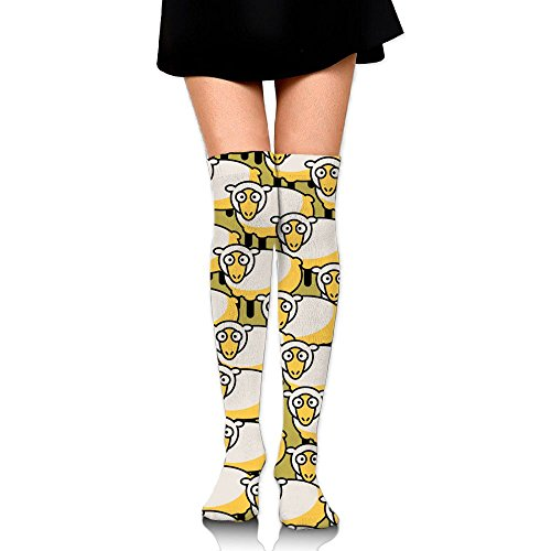 Cute Sheep Women's Knee High Compression Socks Comfortable Soccer Sports Team Socks Running Socks Over Knee High Stockings Socks Stocking For (Great Pyrenees Welcome Sign)