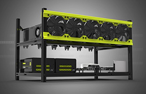 Veddha Deluxe 6 GPU Minercase V3D 6 Bay Aluminum Stackable Mining Rig Open Air Frame Case ()