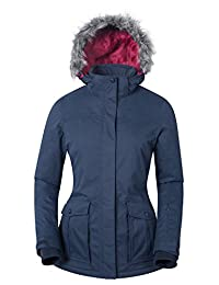 Mountain Warehouse Braddock Women's Ski Jacket - Waterproof, Taped Seam, Breathable IsoDry Fabric with Detachable Snow Skirt & Soft Tricot Lining, Adjustable Hood