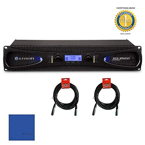 - Crown XLS 2502 2-channel, 775W 4Ω Power Amplifier & 20ft XLR Cables Bundle with Microfiber and 1 Year Everything Music Extended Warranty