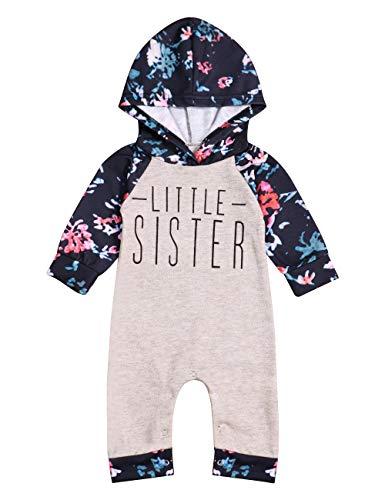Sister Sweatshirt Kids - Baby Girl Sister Matching Clothes Long Sleeve Floral Bodysuit Hooded Sweatshirt Top Kids Jumpsuit Romper Outfit (B-Lightbrown, 3-6 Months)