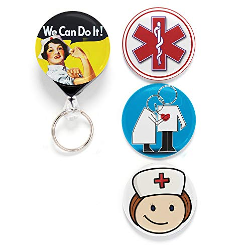 Buttonsmith Nurse 1 Tinker Reel Retractable Badge Reel - with Belt Clip and Extra-Long 36 inch Standard Duty Cord - Made in The USA