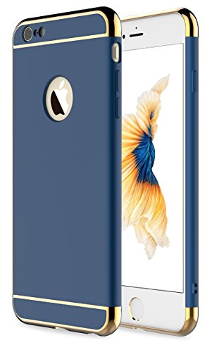 iPhone 6 Case,iPhone 6s Case, RORSOU 3 In 1 Ultra Thin and Slim Hard Case Coated Non Slip Matte Surface with Electroplate Frame for Apple iPhone 6 (4.7″) and iPhone 6S (4.7″) — Blue and Gold