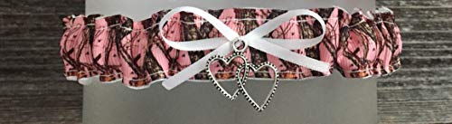 Sexy Pink Camouflage White Satin Wedding Tossing Toss Bridal Garter - Silver Double Heart ()