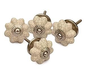 Set of 4 ceramic white pumpkin decorative antique door knobs interior round knobs and pulls for for Decorative interior door knobs