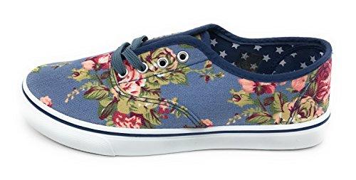 Bleu Berry Easy21 Femmes Toile Lacets Chaussure Mode Décontracté Sneakers Lumière Denim Floral