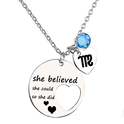 Lywjyb Birdgot Personalized Cutout Stainless Steel Necklace with Zodiac Signs and Birthstone Engraved She Believed she Could so she did ()