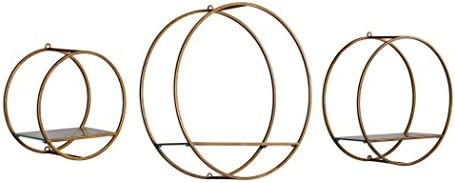 MY SWANKY HOME Antiqued Bronze Gold Round Wall Shelves |Set 3 Open Cage Metal