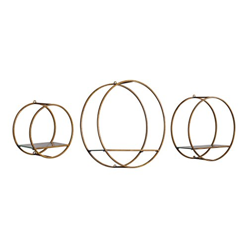 Antiqued Bronze Gold Round Wall Shelves |Set 3 Open Cage Metal