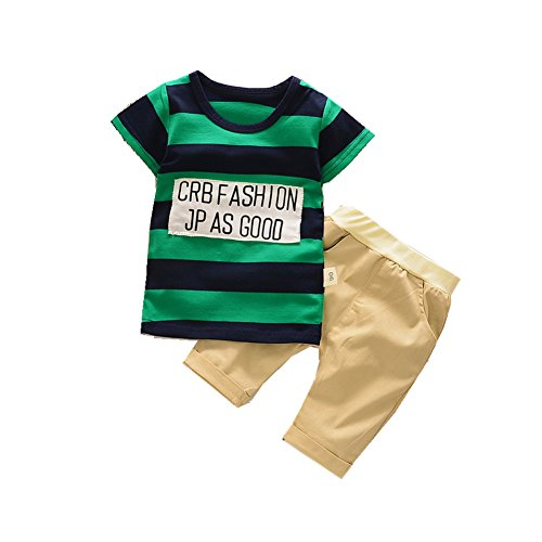 ftsucq-little-boys-girls-letter-striped-pattern-shirt-top-two-pieces-shorts-setsgreen-100