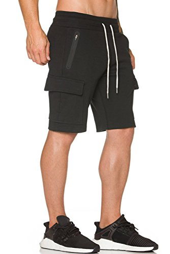 (Ouber Men's Fitted Cargo Shorts Casual Workout with Zipper Pockets (Black,M) )