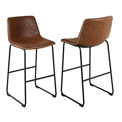 LSSBOUGHT Vintage Barstools with Suede Fabric, Set of 2 (Brown)