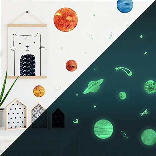 TEPSMIGO 68pcs Glow in The Dark Stars and Planets Wall Stickers, 9 Planets + 28 Stars + 12 Shooting Stars + 19 Constellation Symbols, Bright Solar System Wall Stickers Glowing Ceiling Decals for Kids by TEPSMIGO (Image #4)