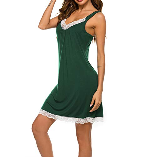 Mother's Day Nightgown for Women Sexy Sleepwear V Neck Pajama Dress Modal Soft Nightshirt Sleeveless Loose Nightdress Green M