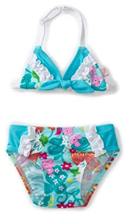 Floatimini Baby Girls' Floral Bathing Suit Swimwear, Aqua, 12 18 Months