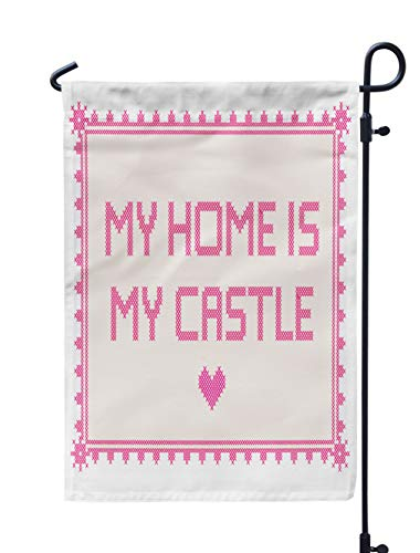 (Soopat Home Quote Seasonal Flag, Cross Stitch with Home Castle Border Cross StitchWeatherproof Double Stitched Outdoor Decorative Flags for Garden Yard 12''L x 18''W Welcome Garden Flag)
