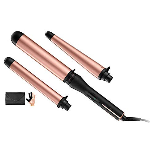 Conair Multi-Attachment Ceramic Interchangeable 3 Clamp-less Wand Barrel Set for Creating Curls and Wavy Styles with 5 Digital Heat Settings