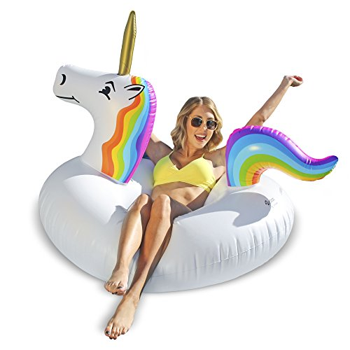 GoFloats Unicorn Pool Float Party Tube Inflatable - Adults & Kids -