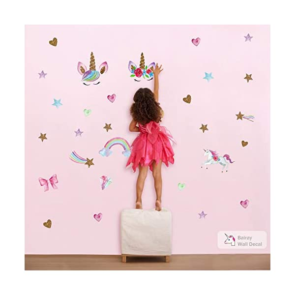 Unicorn Wall Decal,66pcs Unicorn Wall Decor Stickers Decals for Kids Rooms Gifts for Girls Boys Bedroom Nursery Home Party Favors 6