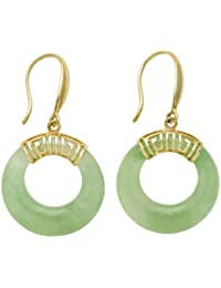 14k Yellow Gold Natural Green Jade Circle Hoop Greek Key Earrings