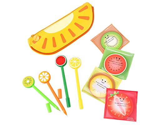 Kiwi Select Gel (Ace Select Pencil Case Pens Sticky Notes 9 Pcs Fruit Stationery Set for Scholl and Office - Set C)