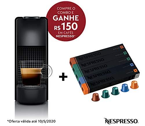 Cafeteira Nespresso Essenza Mini Preta 220V e Seleção Lungos 50 cápsulas de café