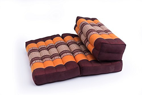 Foldable Meditation Cushion, 100% Kapok, Thai Design Orange & Brown by Kapok Dreams