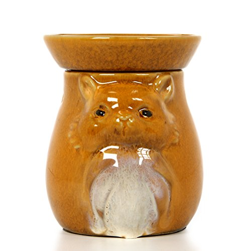 Hosley 5'' High Tan Woodland Animal Ceramic Electric Oil Warmer. Ideal Gift for Wedding, Spa and Aromatherapy. Use with Brand Fragrance Oils, Essential Oils and Wax Melts/Cubes. P2 by Hosley