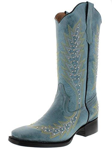 Cowboy Professionale Da Donna Turchese E Argento Borchie Stivali Da Cowboy In Pelle Turchese Quadrato