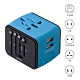 Universal Travel Adapter, Iron-M All-in-one International Power Adapter with 2.4A Dual USB, European Adapter Travel Power Adapter Wall Charger for UK, EU, AU, Asia Covers 150+Countries (Blue)