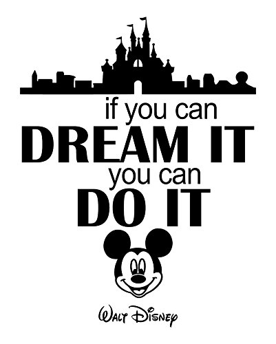 Decor Your Wall with Adorable Mickey Mouse Head and Walt Disney World Castle Quote Wall Sticker: Famous Inspirational and Motivational Quotes Letter Wall Art Stickers Gifts for Kids - WHITE