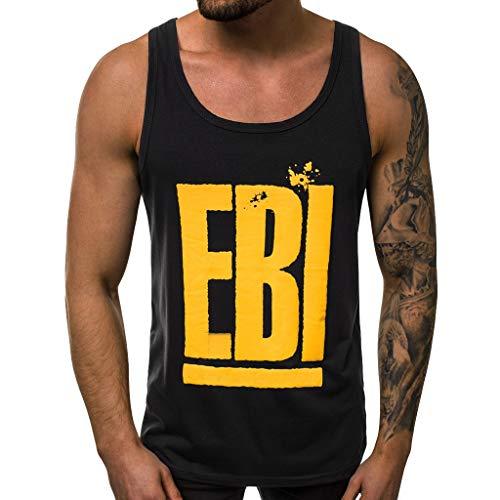 Printed T Shirts for Men,Men's Summer Casual Fashion Alphabet Printing Elastic Sleeveless Vest Blouse Top,Black,L,Everything Else