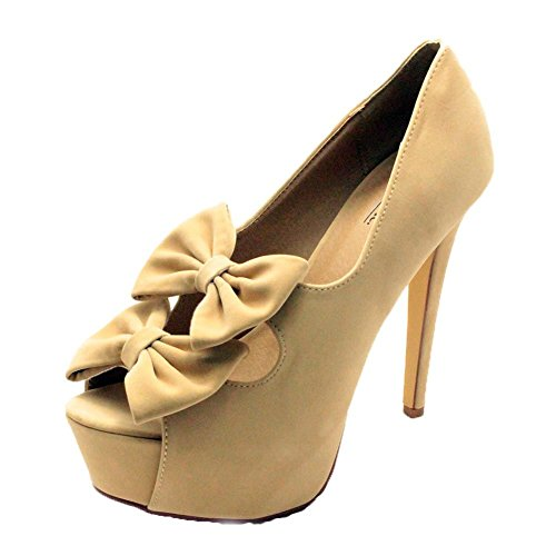Plattform Suedette Bow Damen High Nude Heel Double Pumps SendIt4Me SqICwgvn