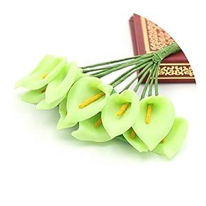 3/Bunch Silk Flowers Artificial Calla Flower Bouquet Wreath Corsage Hat Clothing Home Garden Wedding Decorate Material,Green 100