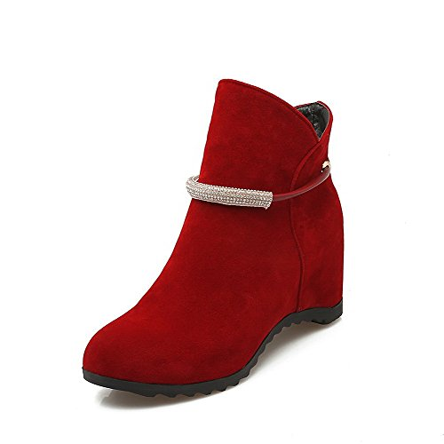 Allhqfashion Women's Pull-on Round Closed Toe Kitten-Heels Imitated Suede Ankle-high Boots Red