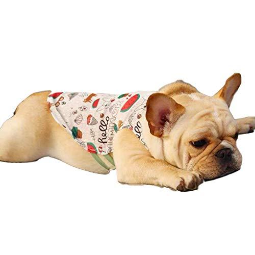Pet Clothes,Dog Shirts Tank Top Vest Comfy Cute Pattern Print Cool Puppy Vest XS-XXL (S, White) -