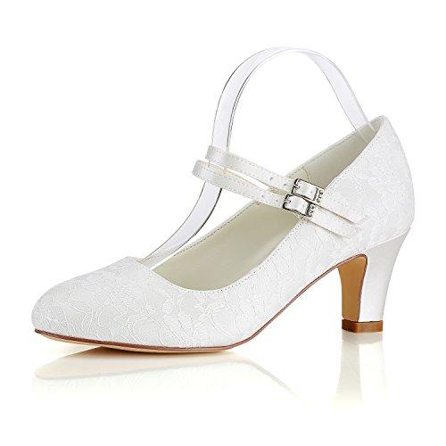 - Emily Bridal Silk Wedding Shoes Vintage Round Toe Mary Jane Bridal Shoes Ivory Wedding Guest Shoes (EU41/9 B(M) US, Ivory)