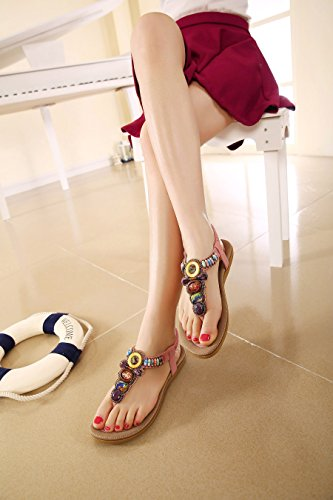 Thong Apricot Beads Summer D2C Sandals Beauty 1 Women's Flat Bohemian 8qBYw7