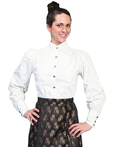 Scully Western Lady Shirt - Scully Wahmaker Women's Old West Blouse Ivory Small